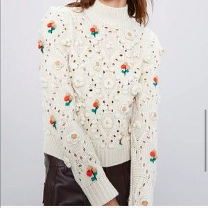 ISO Zara Floral Knit Embroidered Sweater